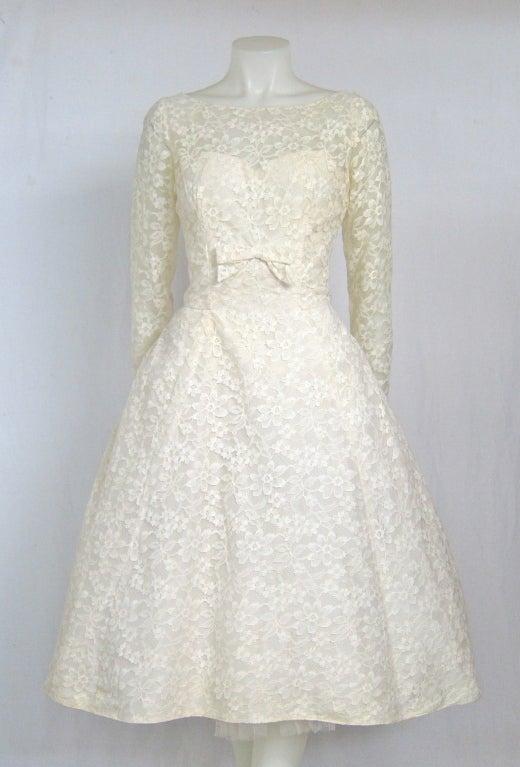 1960 39 S Tea Length Long Sleeves Sweetheart Lace Wedding