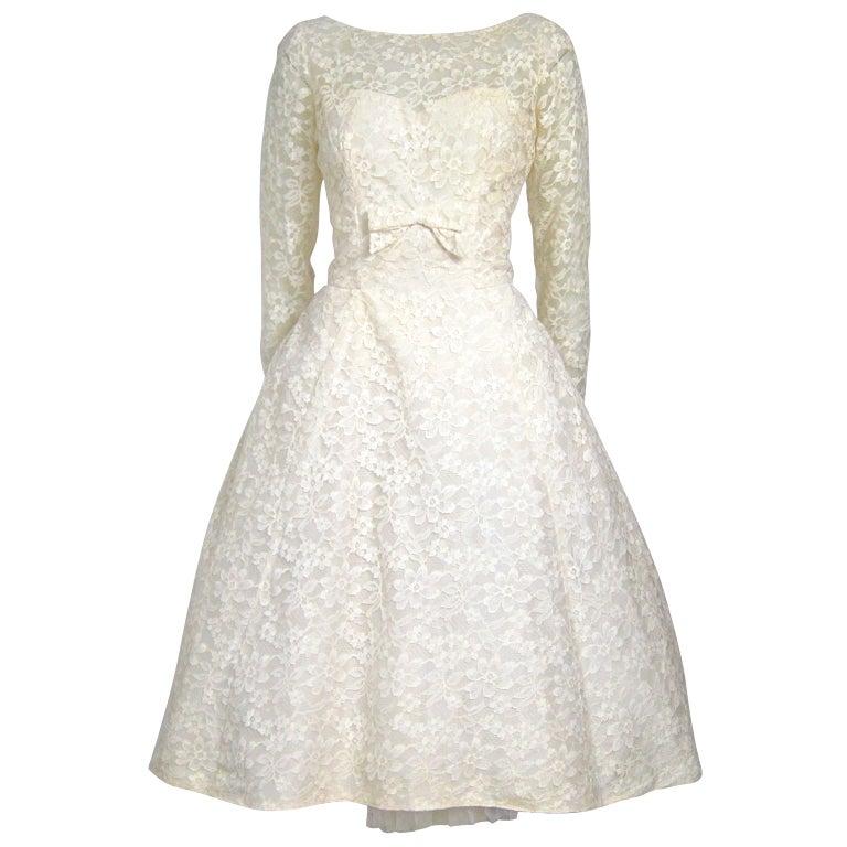 1960 39 s tea length long sleeves sweetheart lace wedding for Long sleeve tea length wedding dresses