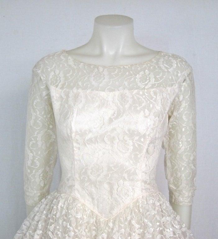 Vintage Lace Sleeve Back Tulle Ruffles Tea Length Wedding
