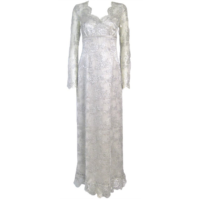 Silver Lame Lace Full Length Dress W Sheer Sleeves- At 1Stdibs-2231