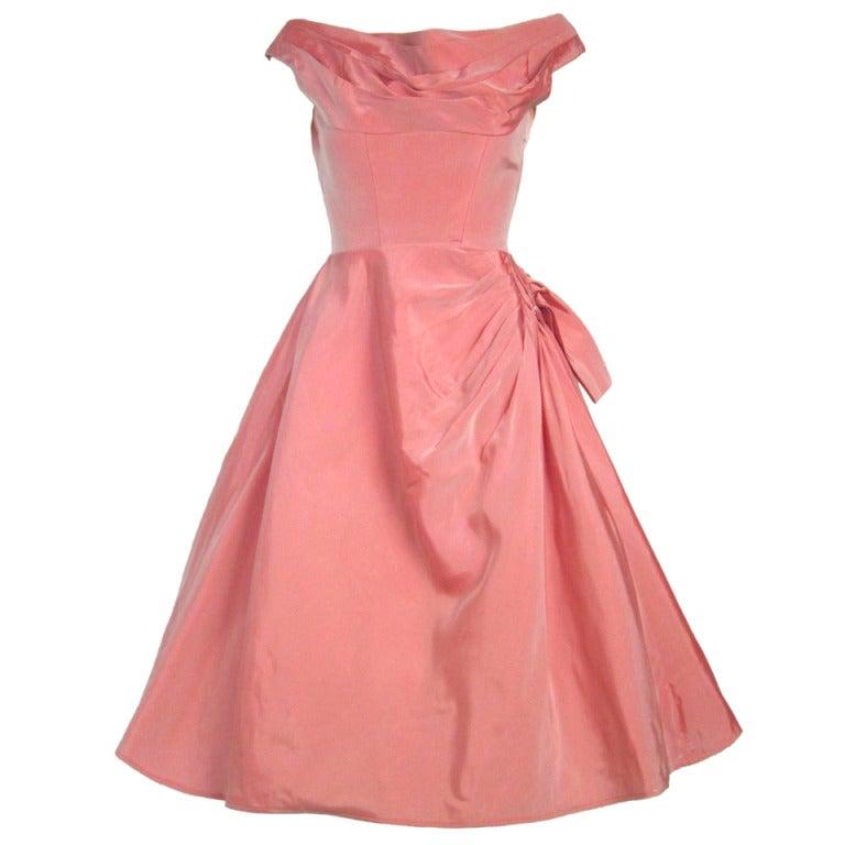 1950s rose petal pink taffeta w side sash cocktail or Rose pink wedding dress