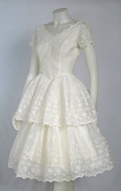 Vintage white organza eyelet layered party wedding dress for White cotton eyelet wedding dress