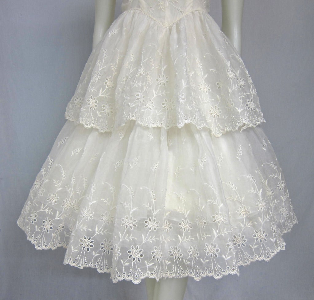 Vintage white organza eyelet layered party wedding dress for Organza layered wedding dress