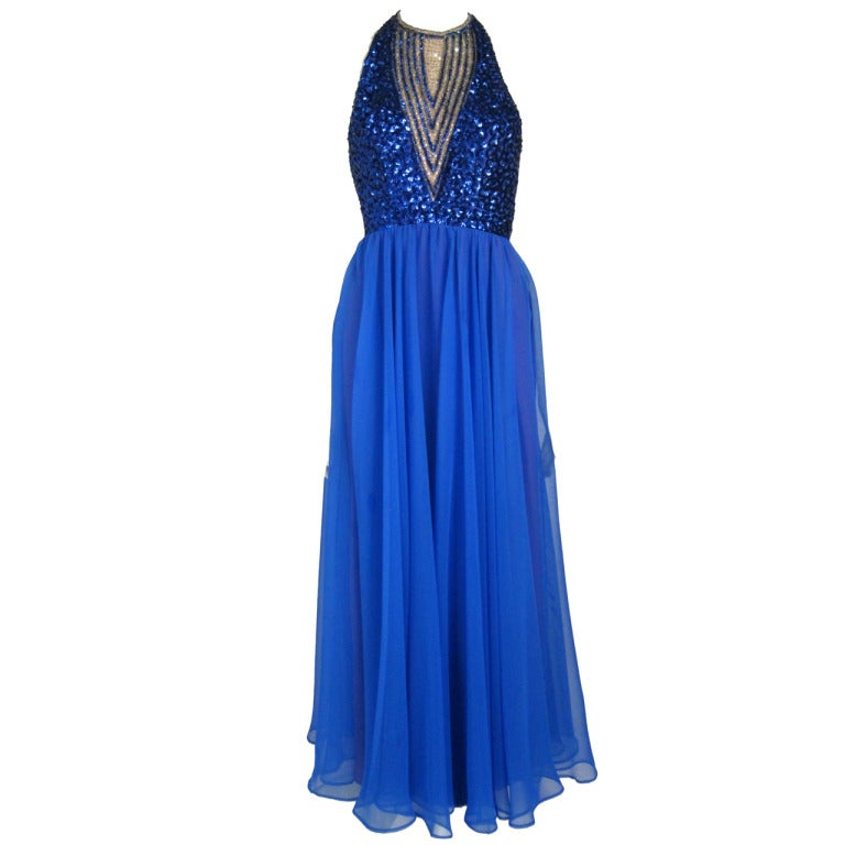 1960s 70s blue sequin chiffon open back halter formal long for Costume jewelry for evening gowns