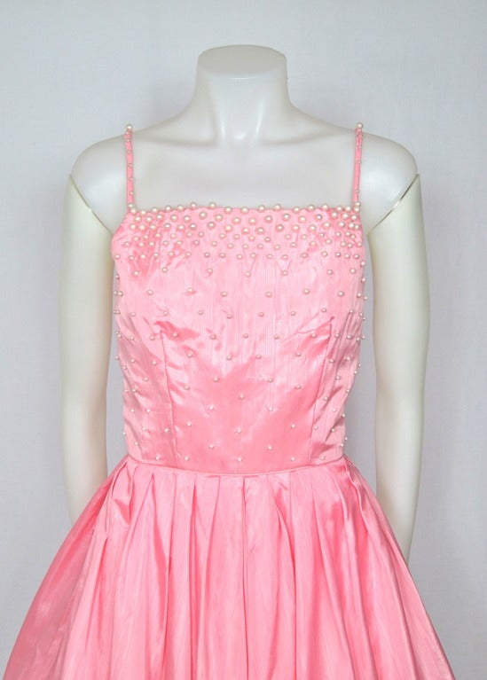 Style victor costa pink morie pearl beaded party wedding dress image