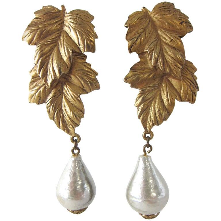 Golden Grape Leaves Baroque Pearl Chunky Dangle Earrings