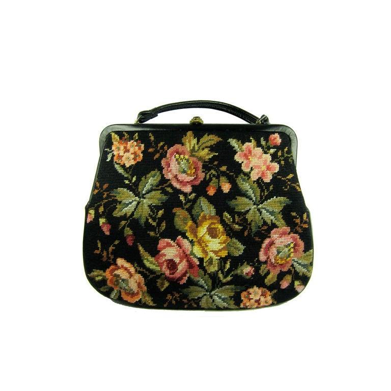 vintage 1950 hard to find large floral needlepoint handbag purse at 1stdibs