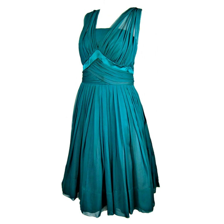 1950 S Elegant Green Chiffon Party Dress At 1stdibs