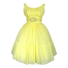 VINTAGE 1950s BRIGHT YELLOW ORGANZA PARTY DRESS W TAGS