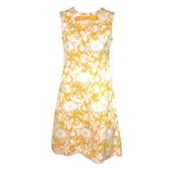 VINTAGE 1960 YELLOW/GOLD WHITE FLORAL TAPESTRY SHEATH DRESS LG