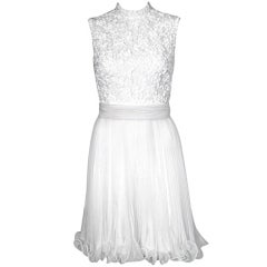 VINTAGE EARLY 1960s WHITE RIBBON COCKTAIL DRESS w CHIFFON SKIRT
