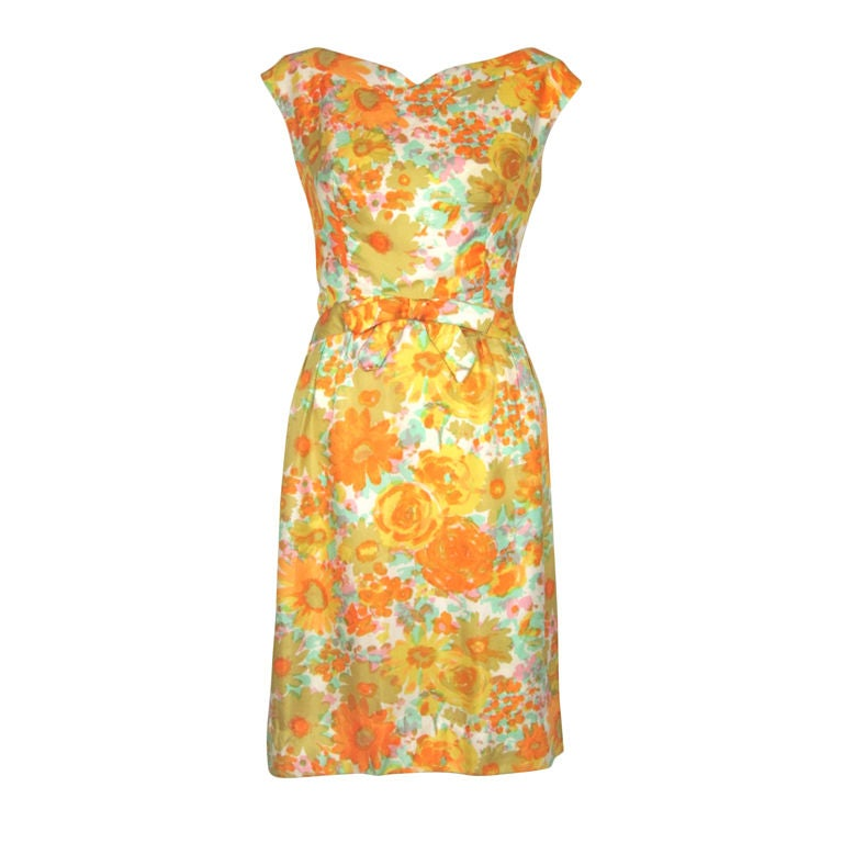 Vintage 1960s Floral Silk Garden Party Dress At 1stdibs