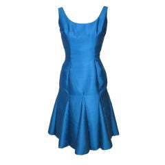 VINTAGE 1950s BLUE HOURGLASS COCKTAIL PARTY DRESS