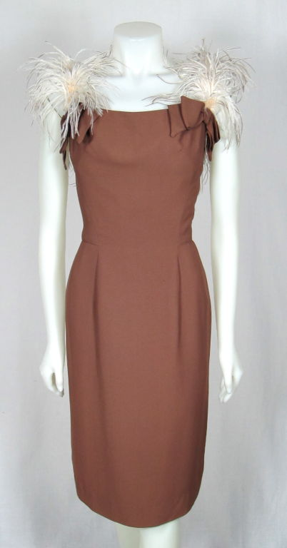 VINTAGE 1960s LILLI DIAMOND CREPE COCKTAIL DRESS FEATHER STRAPS image 2