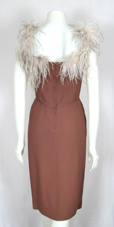 VINTAGE 1960s LILLI DIAMOND CREPE COCKTAIL DRESS FEATHER STRAPS image 4