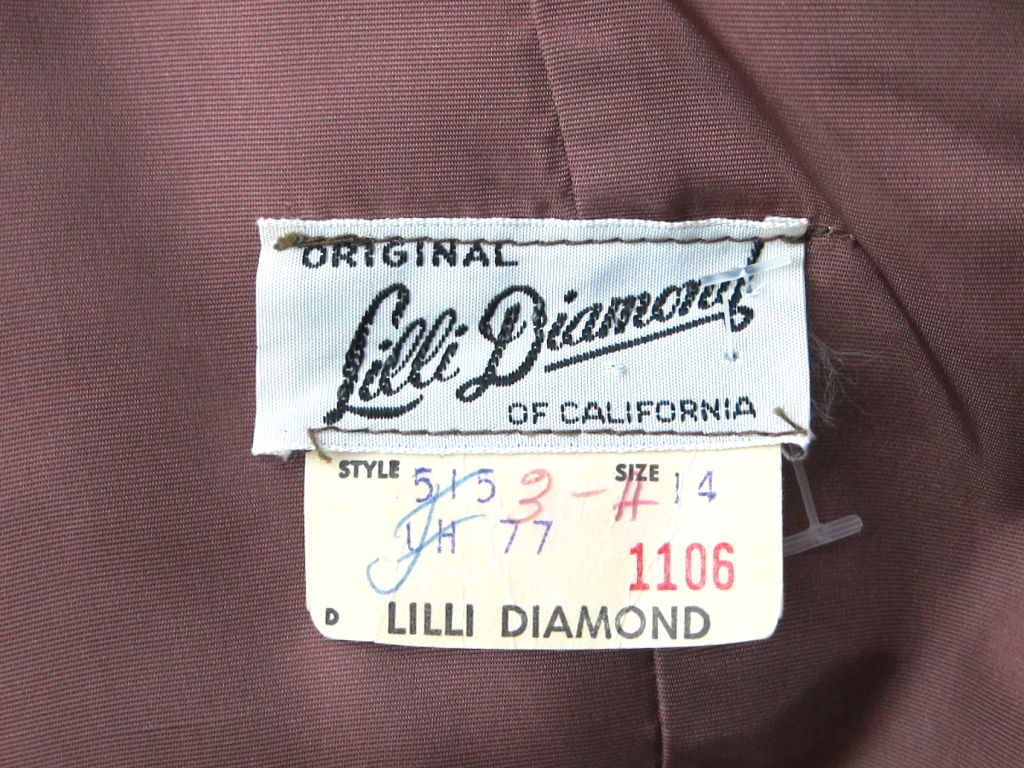 VINTAGE 1960s LILLI DIAMOND CREPE COCKTAIL DRESS FEATHER STRAPS image 7