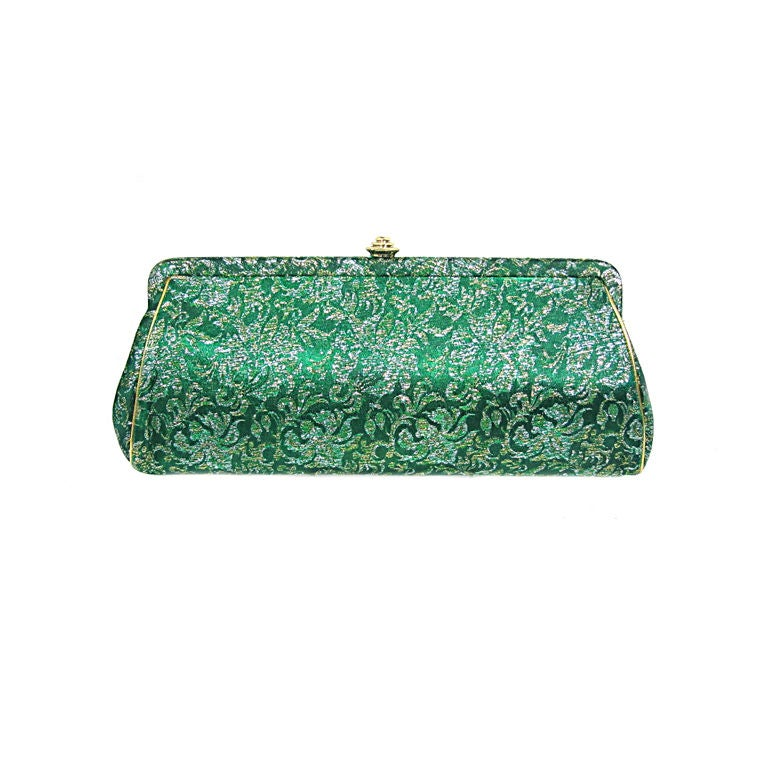 Vintage Green And Gold Brocade Evening Clutch Purse At 1stdibs
