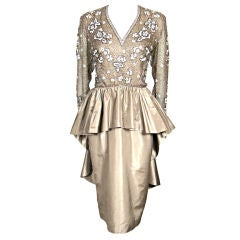 VINTAGE BEADED TAUPE SILK PEPLUM BUSTLE PARTY DRESS