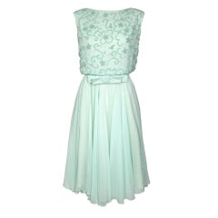 VINTAGE 1960'S SEA FOAM CHIFFON SEQUIN PARTY WEDDING DRESS