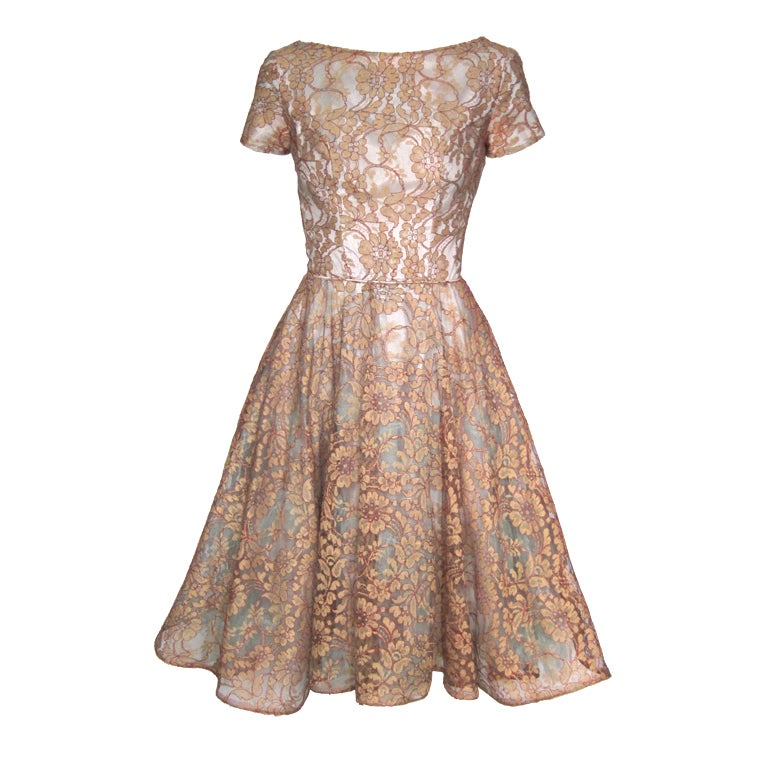 Vintage 1950s blue and bronze illusion lace party dress at for Costume jewelry for evening gowns