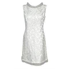 VINTAGE 1960s Silver Brocade & Pearls Party Dress