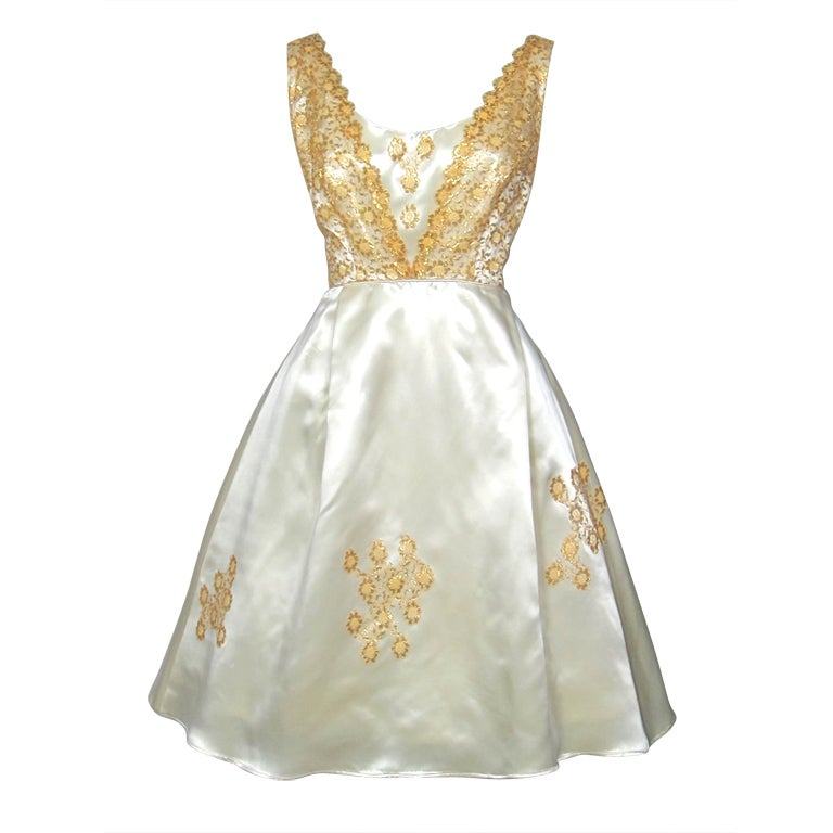 Vintage 1960s Cream Satin And Gold Lace Party Dress At 1stdibs