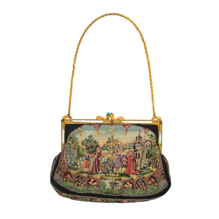 Vintage Renaissance Scene Needlepoint Purse W Ornate Frame