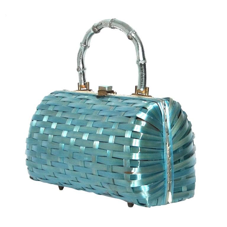 Vintage 1960s Aqua Blue Wicker Bamboo Handle Handbag At 1stdibs
