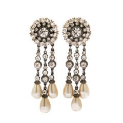 Ben Amun Faux Pearl and Rhinestone Earrings