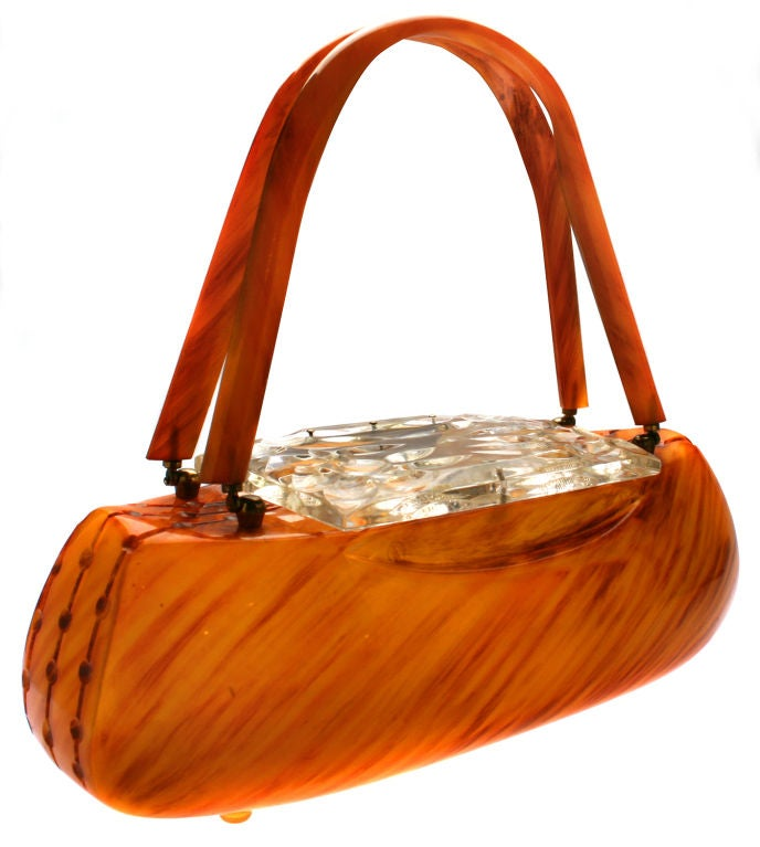 Carved Butterscotch Bakelite Handbag Purse By Llewellyn