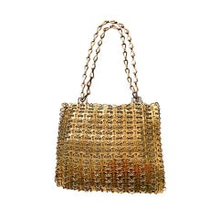Vintage Signed Paco Rabanne Gold Chainmaille Handbag