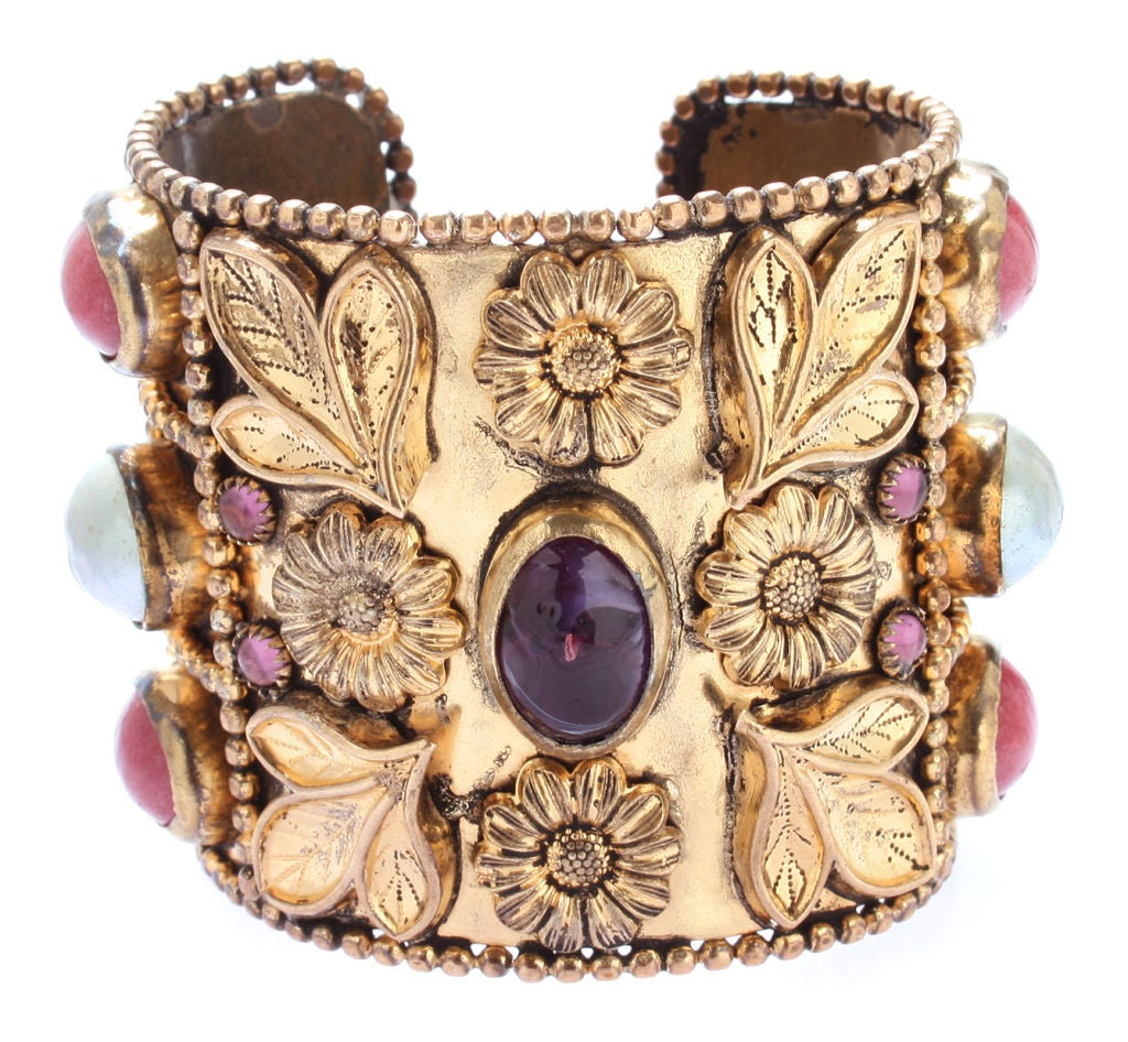 Large French Cuff with Gripoix Stones image 2