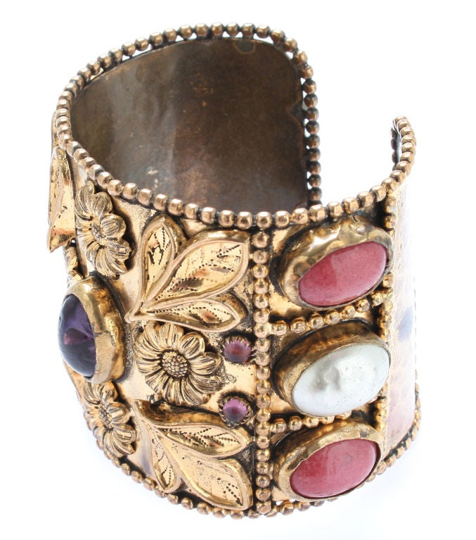 Large French Cuff with Gripoix Stones image 4