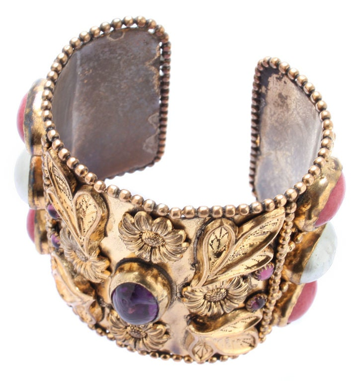 Large French Cuff with Gripoix Stones image 5