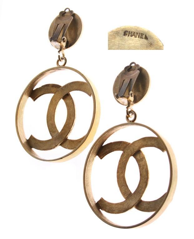 large chanel logo earrings at 1stdibs