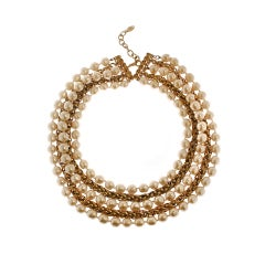 CHANEL Pearl and Chain Multi Strand Necklace