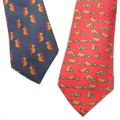 Vintage Hermes Necktie With Bears and Puppies