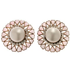 CHANEL Maison Gripoix , Rhinestone and Faux  Mabe Pearl Earrings