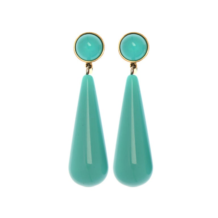 Crown Trifari Turquoise Pendant  Earrings