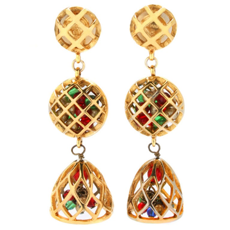 Fun and Fabulous CHANEL Drop Earrings with Poured Glass Balls