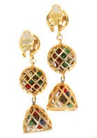 Fun and Fabulous CHANEL Drop Earrings with Poured Glass Balls thumbnail 3