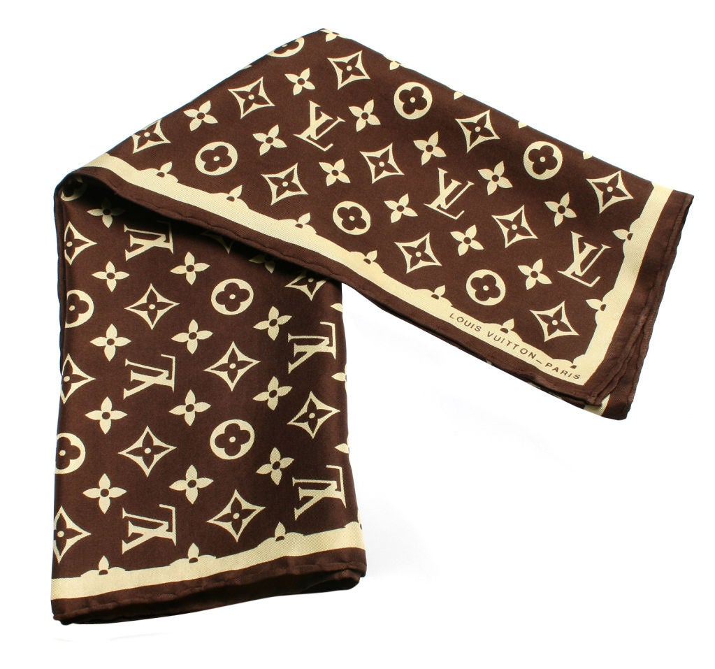Vintage LOUIS VUITTON Silk Logo Scarf at 1stdibs