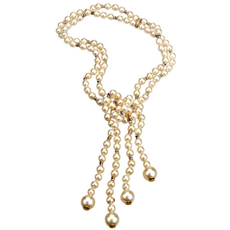chanel strand pearl and rhinestone lariat necklace