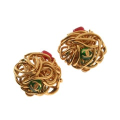 CHANEL Sculptural Gilt Wire Earrings