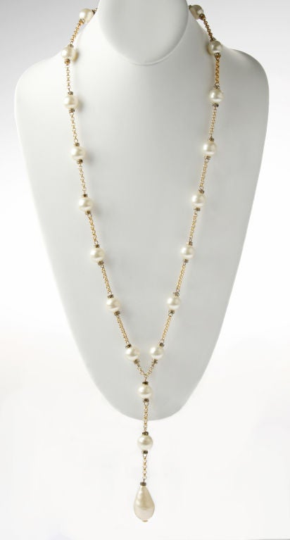 Demure CHANEL  Faux Mabe Pearl and Rhinestone Necklace image 3