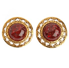 CHANEL Red Poured Glass Earrings