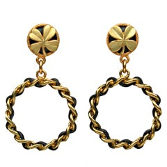 CHANEL Clover Woven Metal and Leather Hoop Earrings