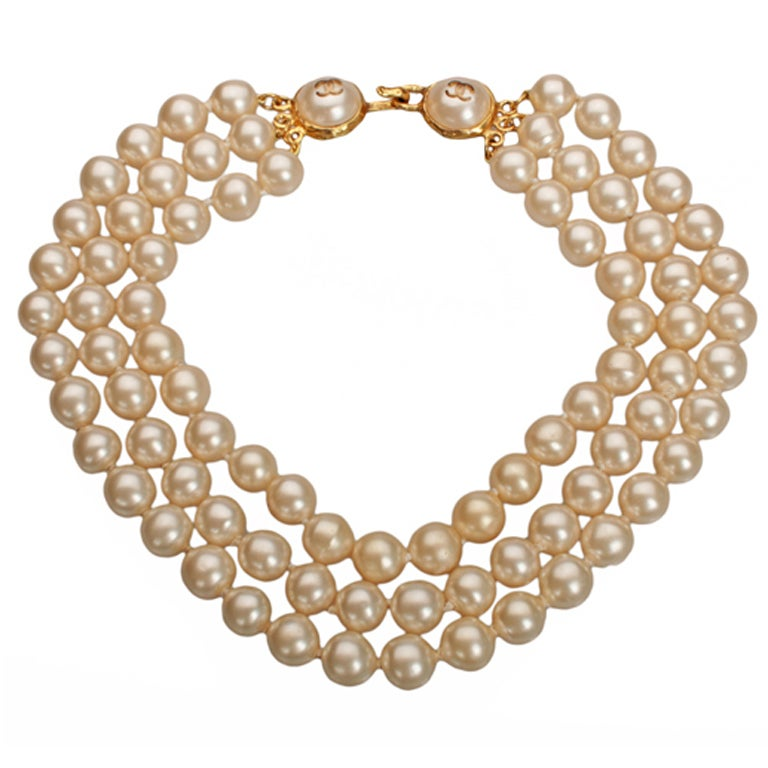 chanel strand faux pearl necklace at 1stdibs