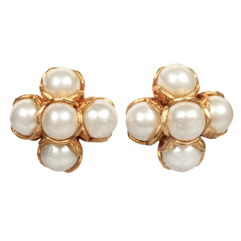 chanel pearl cluster earrings at 1stdibs