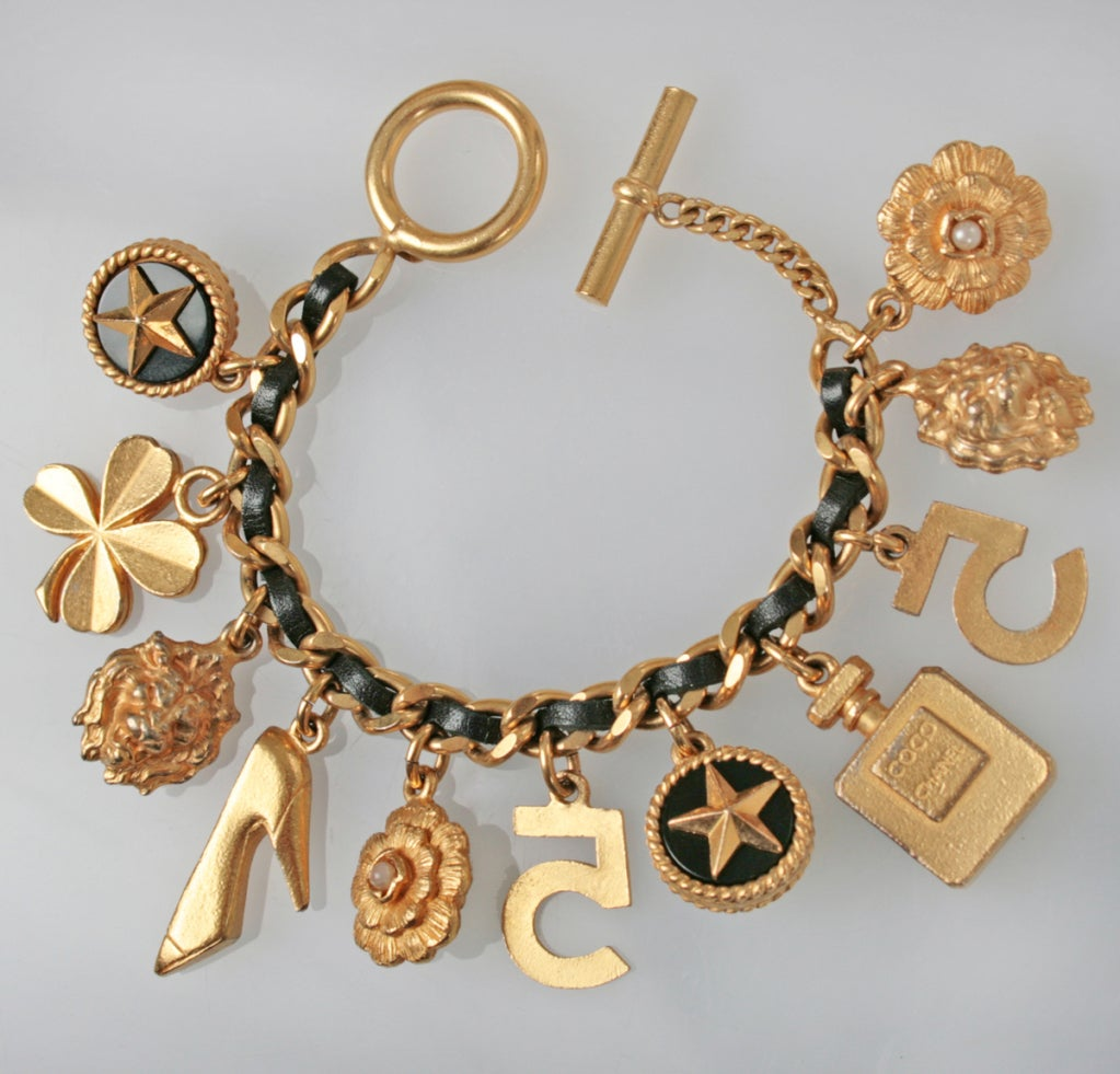 chanel chain and leather charm bracelet at 1stdibs